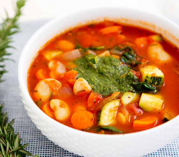 Hearty Tomato Vegetable Soup with Pesto | A House in the Hills for Camille Styles