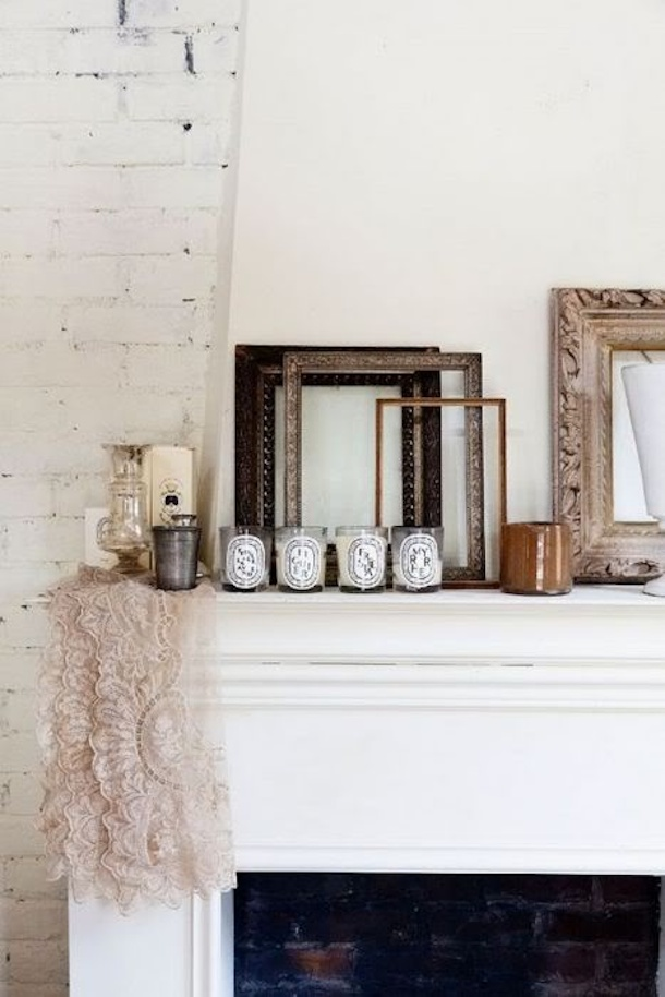 mantle with diptyque candles | camille styles