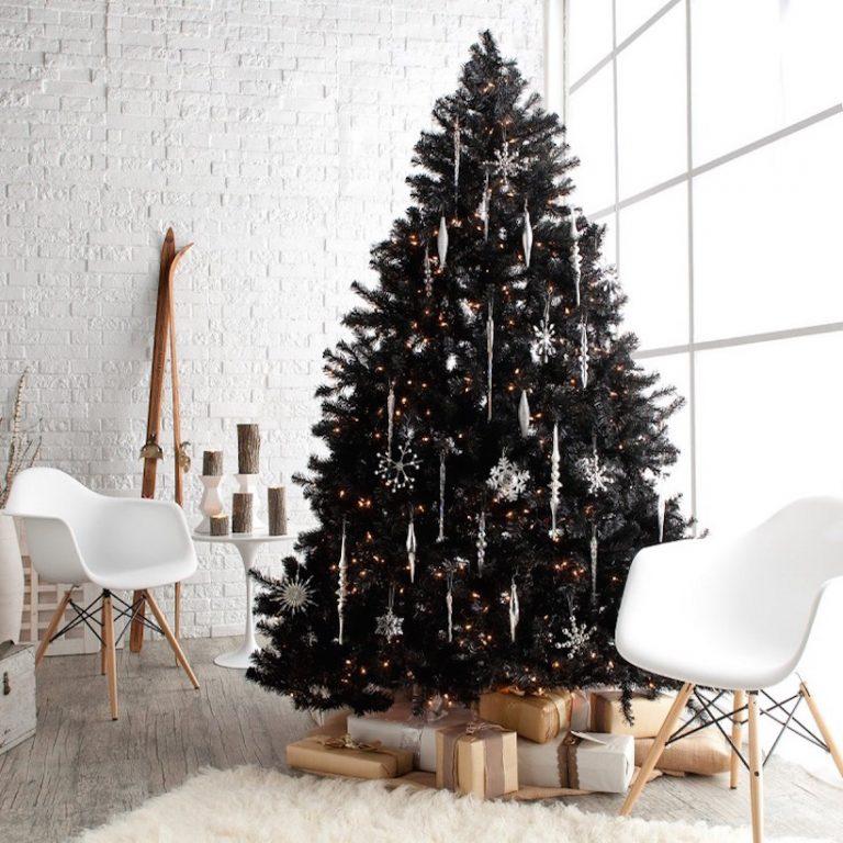 modern black christmas tree