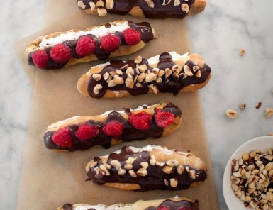 Hazelnut & Raspberry Eclairs, photo by Kim Jones | Camille Styles