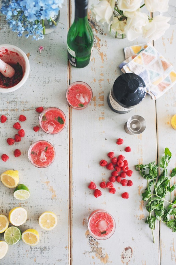 raspberry & gin cocktail making | Camille Styles