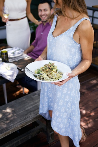 Serve pasta in big family style bowls