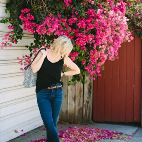 High-waisted Jeans with a classic black tank