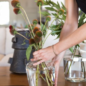 Use greenery to style a coffee table