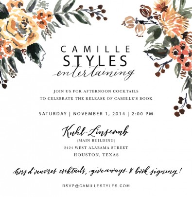 Camille Styles Entertaining Houston Book Party Invitation