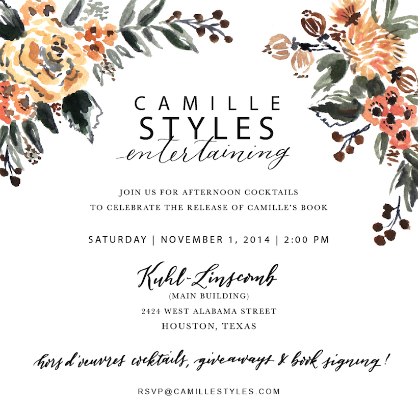 Book Party in Houston Camille Styles – Book Party Invitation