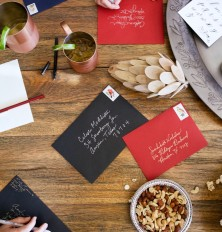 holiday cards and party snacks