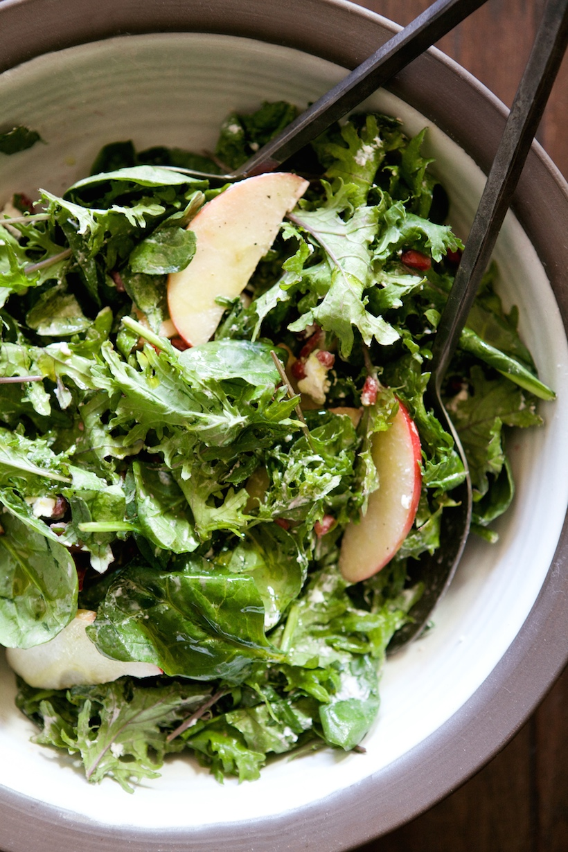 apple, pomegranate, and goat cheese salad