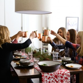holiday toast with friends