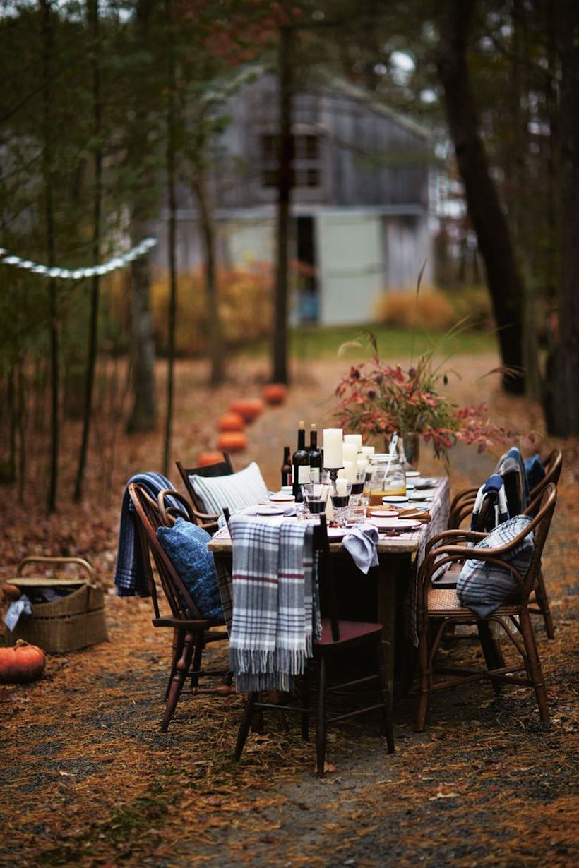 fall dinner party with pumpkin walkway