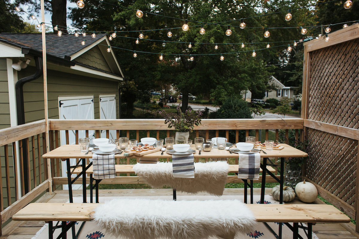 cozy, outdoor fall dinner party