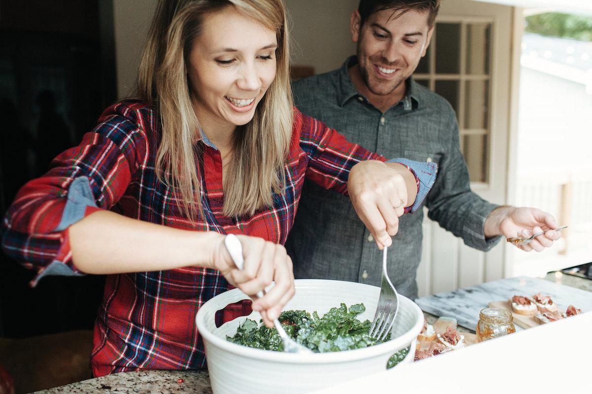 plaid shirt, kale salad and crostini