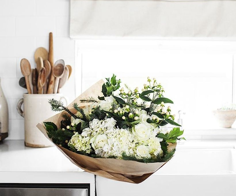 white kitchen and flowers