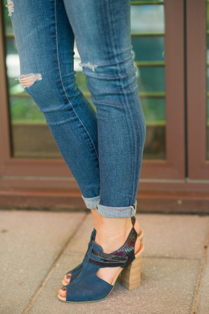 blue peep-toe pumps