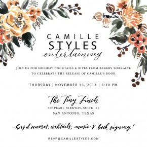 Camille Styles San Antonio book party invitations