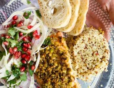 pistachio-crusted salmon with quinoa