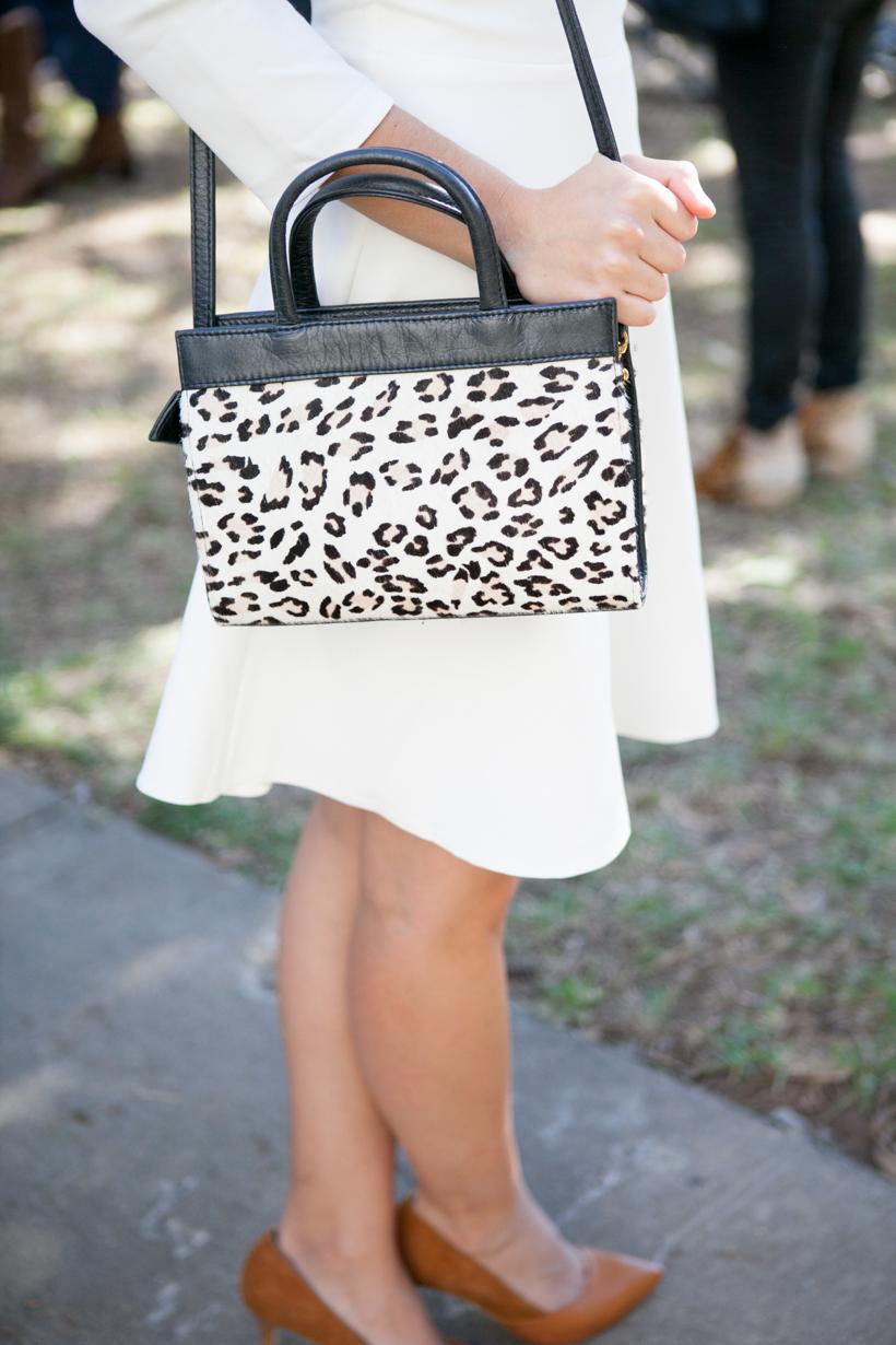 Leopard print purse, white dress