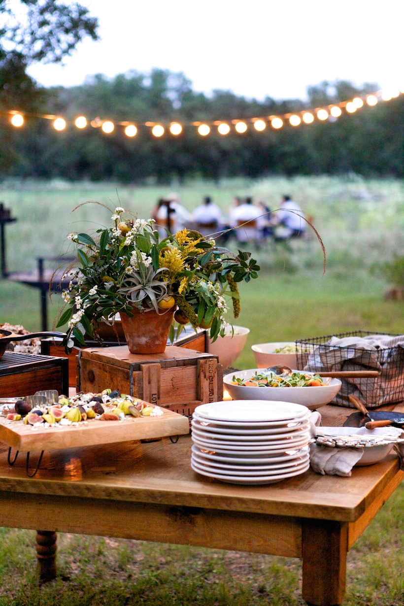 Rustic outdoor buffet