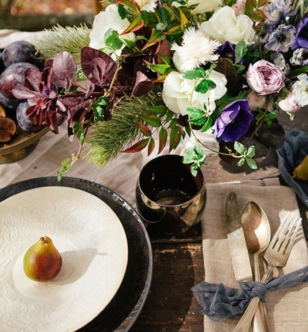fall flowers, pear place setting