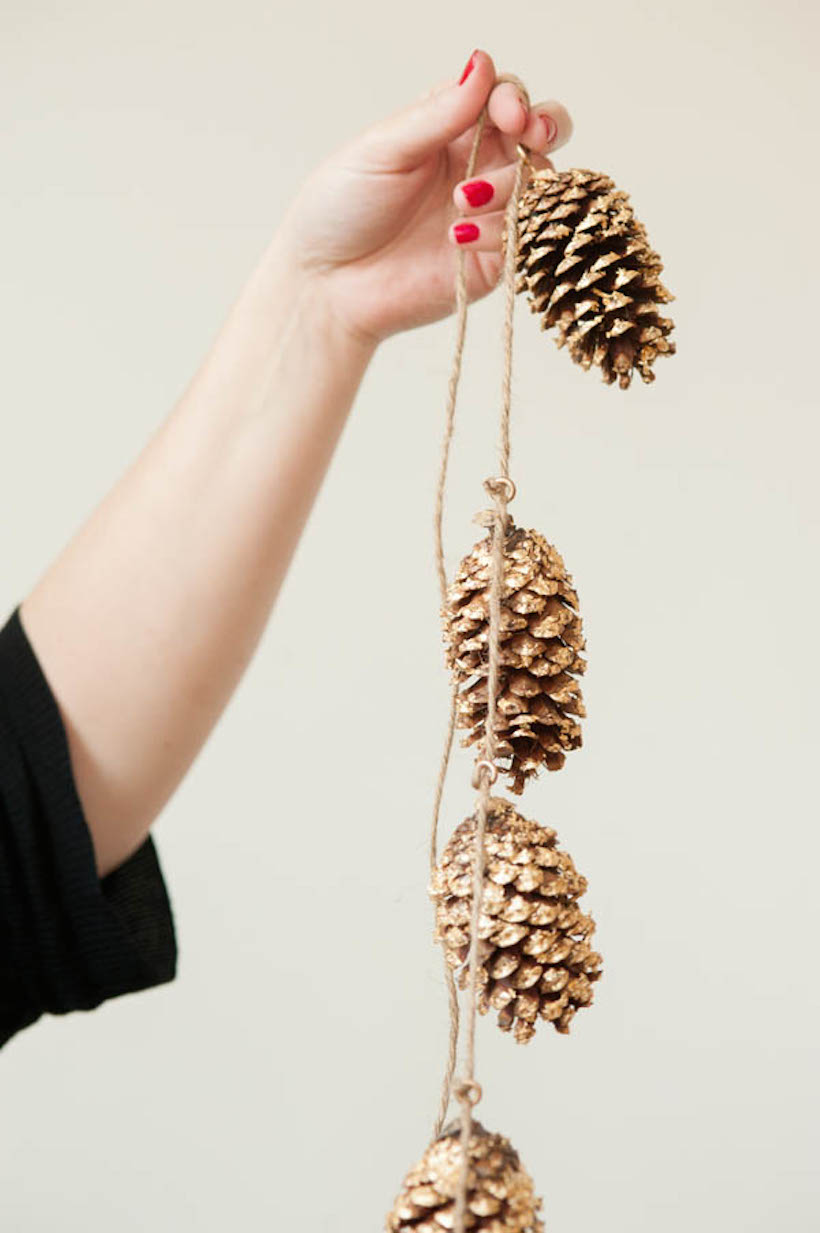 gold leaf pinecone garland