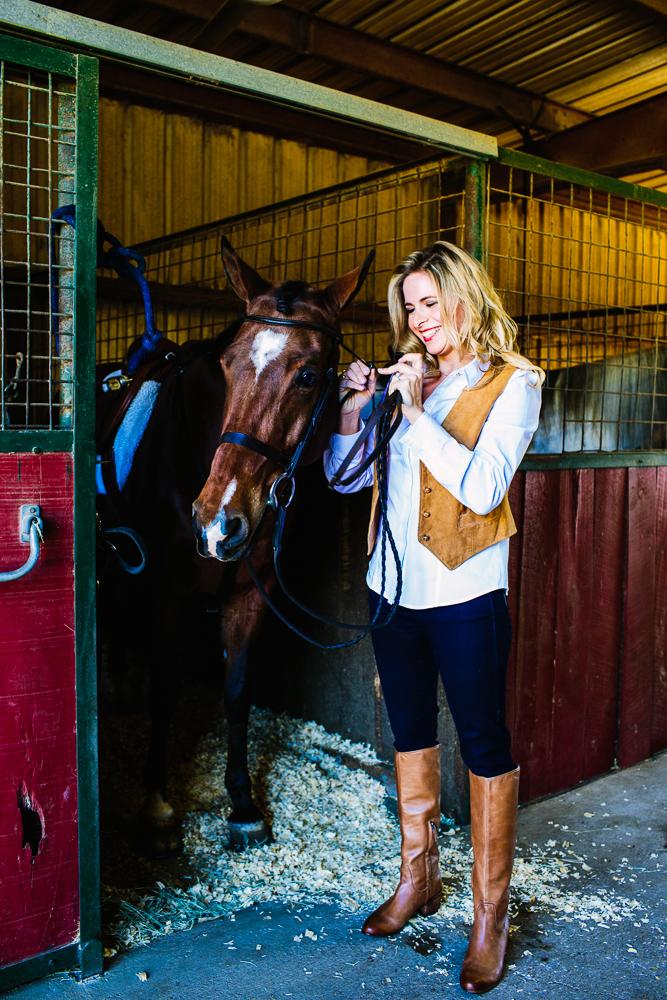 Quincy DeSpain Ellis in the stables