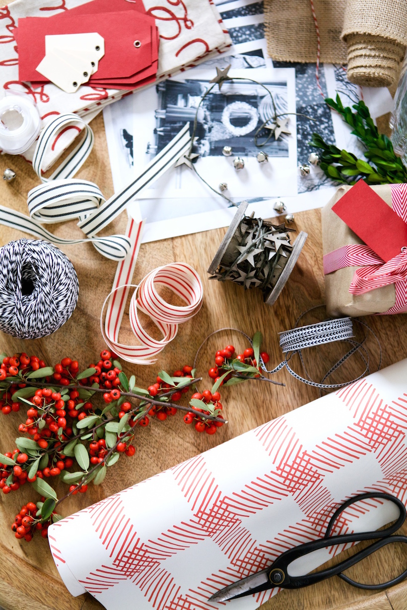 Craft supplies for a gift wrapping party