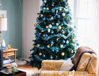 modern blue and yellow christmas