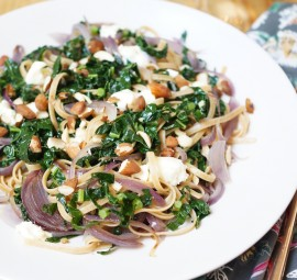 Kale & Caramelized Onion Whole Wheat Linguine pasta recipe