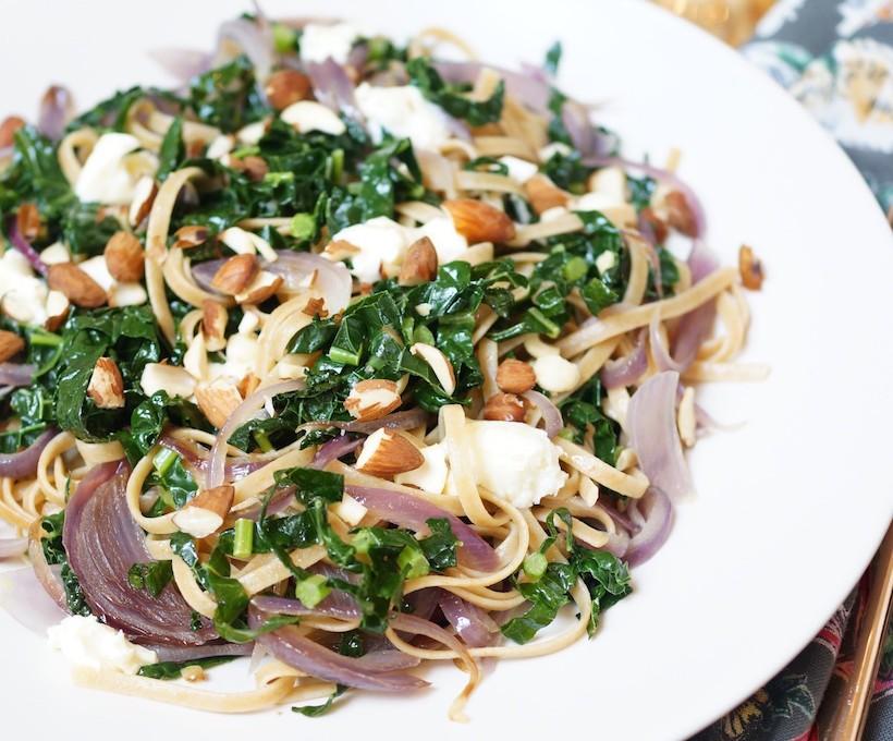 Kale & Caramelized Onion Whole Wheat Linguine pasta recipe