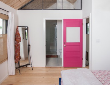 vault ceilings and pink door
