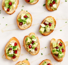 avocado and pomegranate crostini