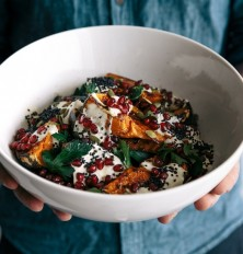 pumpkin salad with cumin yogurt, pomegranate, parsley and seeds