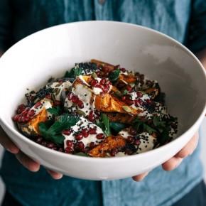 pumpkin salad with cumin yogurt, pomegranate, parsley and seeds