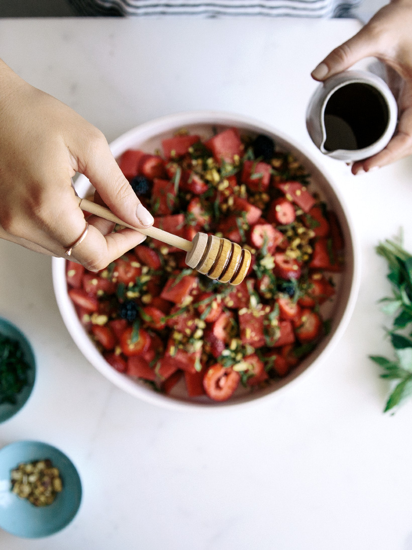 watermelon and strawberry salad with pistachios & honey