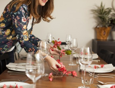 Ashley of Hither & Thither sets table