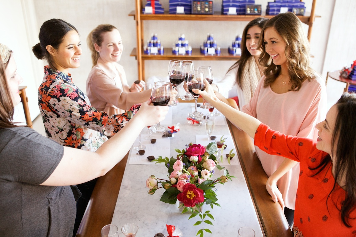 wine and chocolate pairing party