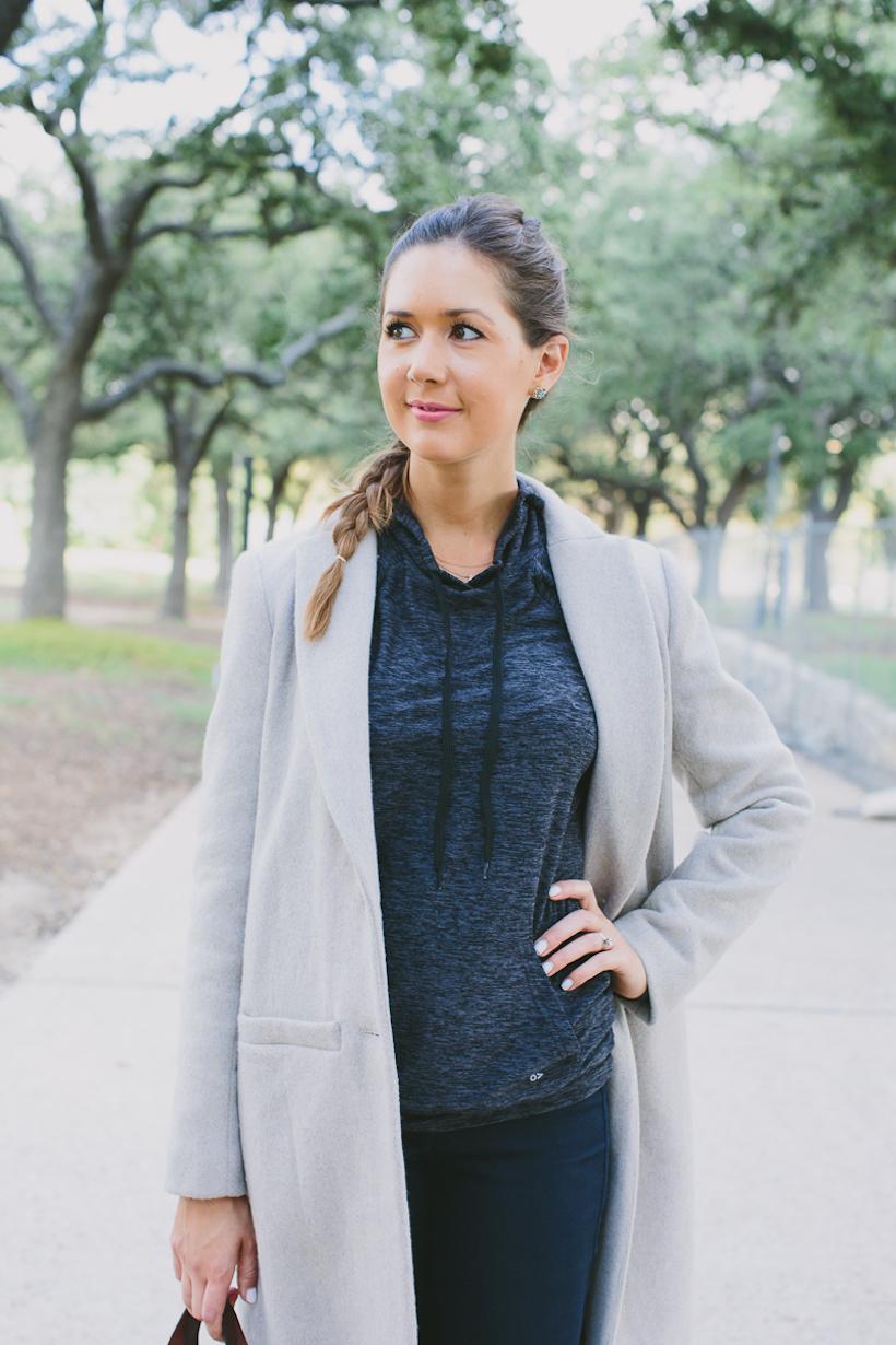 workout wear / camel wool coat