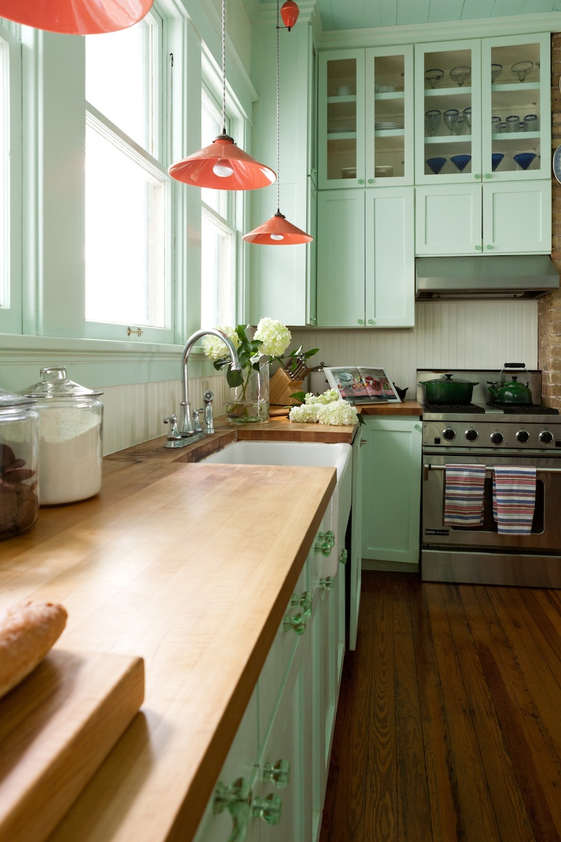 Bright green kitchen cabinets