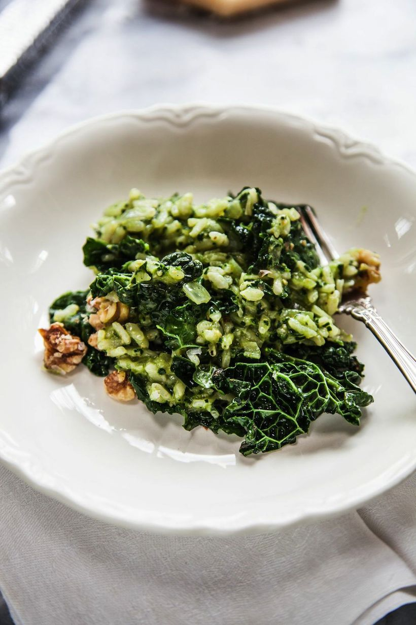 Oven Risotto with Tuscan Kale Pesto