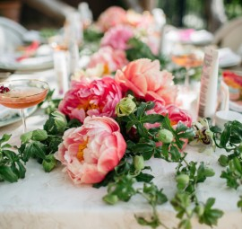 garden party table with peonies