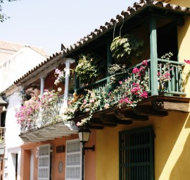 Colorful Homes In Cartagena With Balconies Adorned With Lush Pink Flowered Vines And Ferns