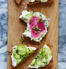 Herbed Goat Cheese and Radish Tartines / Morning Meals