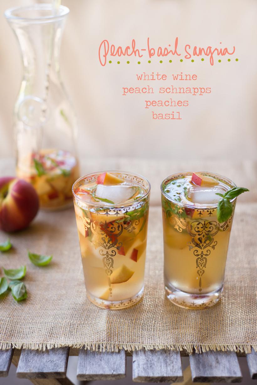 Peach Basil Sangria Summer Cocktail