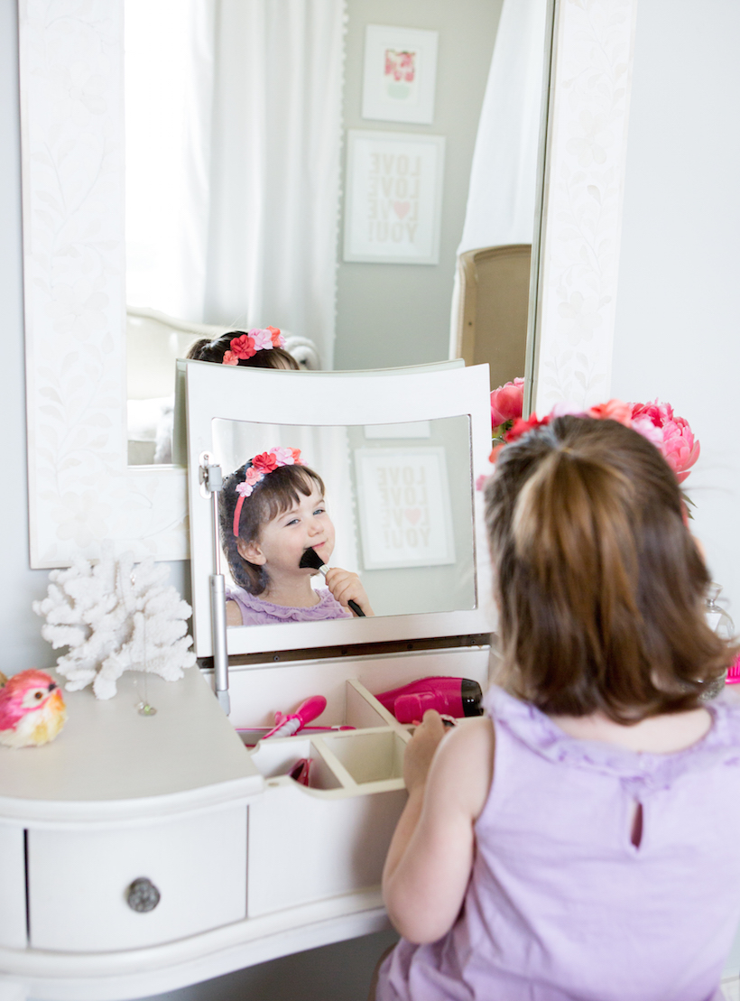 Phoebes big girl room camille styles vanity table stool little girls pink white bedroom geotapseo Choice Image