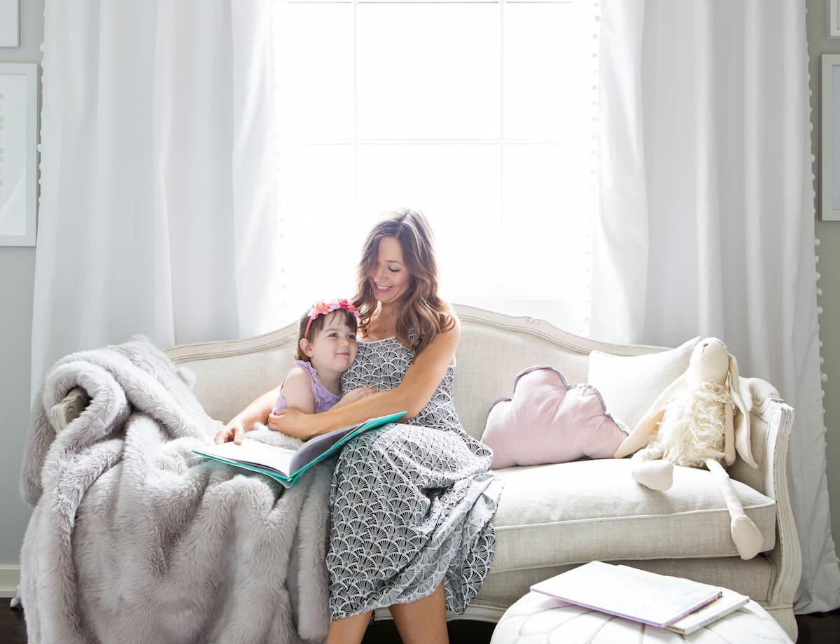 reading corner // little girls' pink & white bedroom