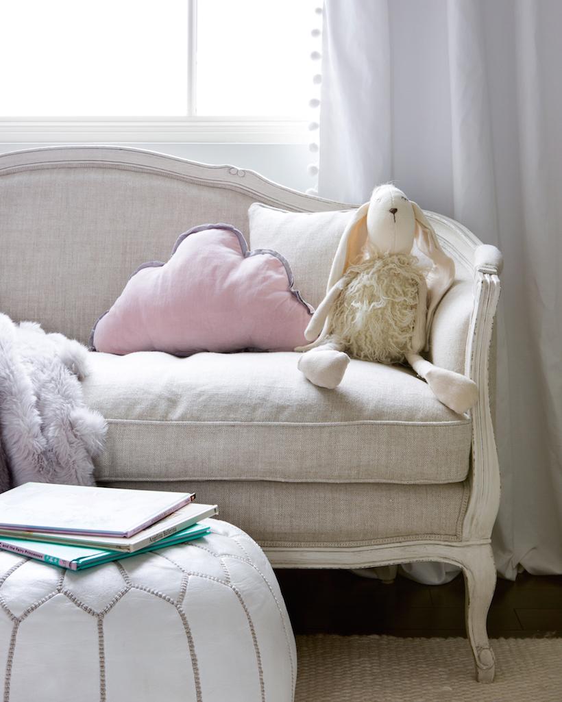settée & morrocan pouf // little girls' pink & white bedroom