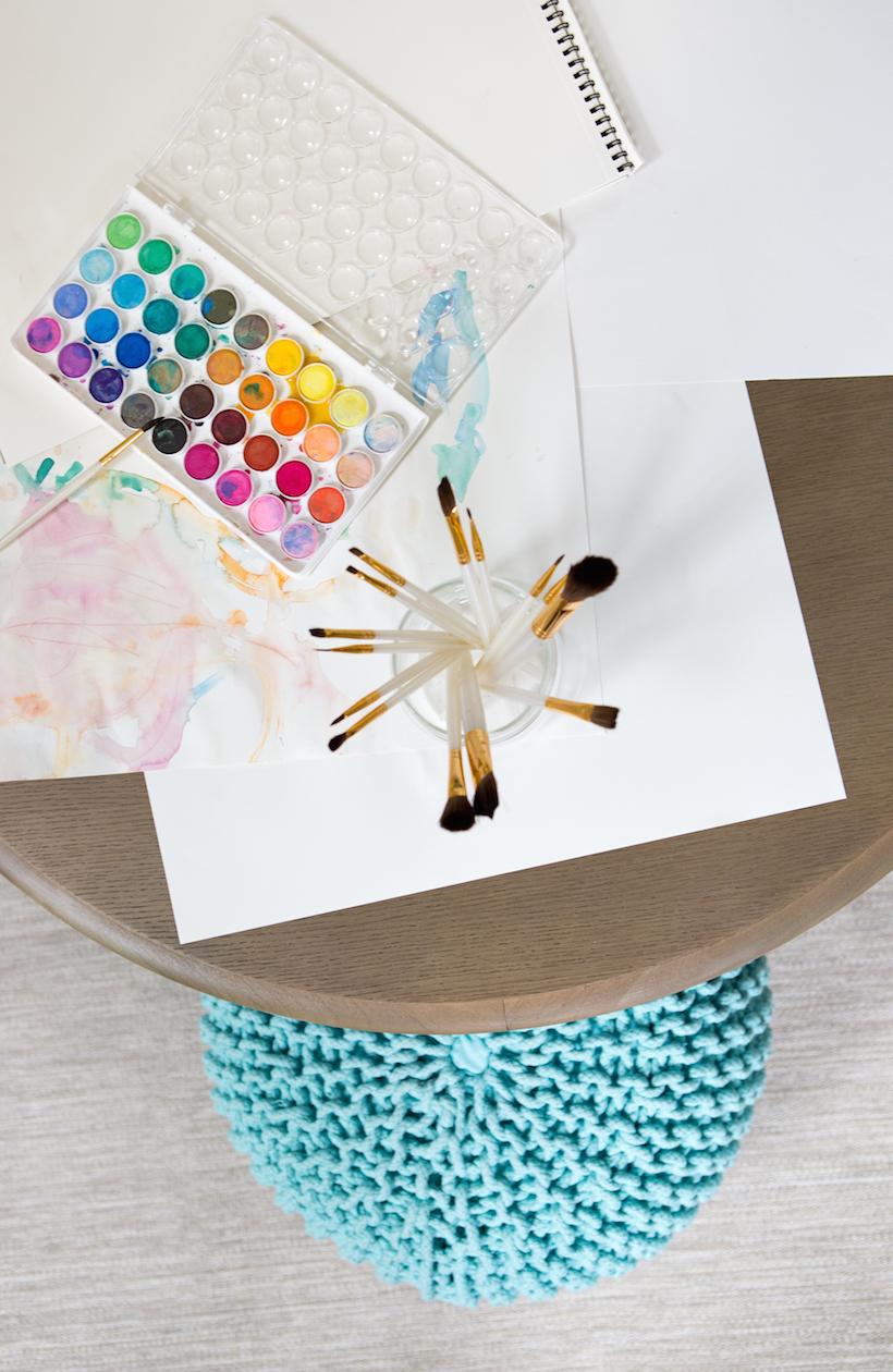 watercolors // kid sized art table // modern kids playroom