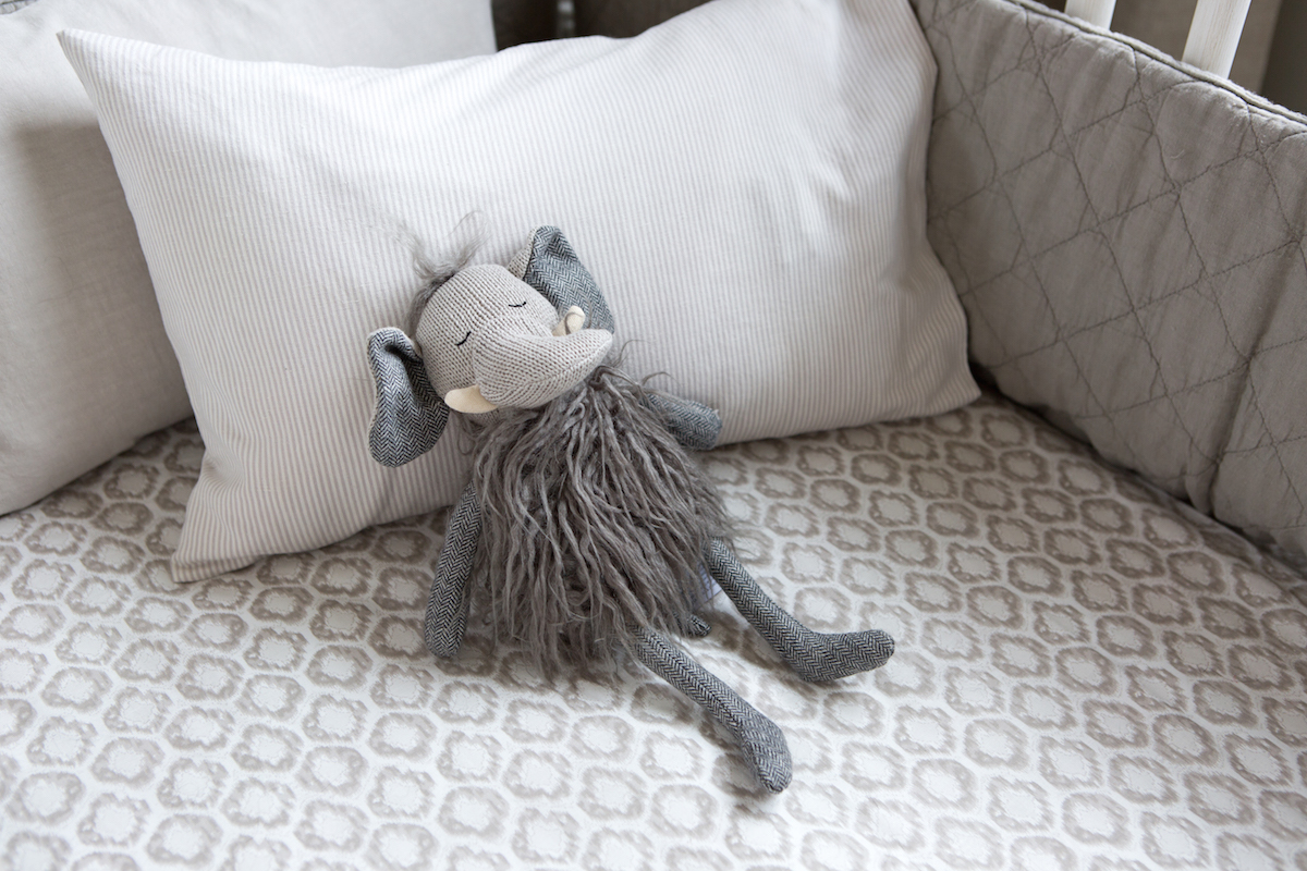 grey & white crib bedding // modern baby boy's nursery