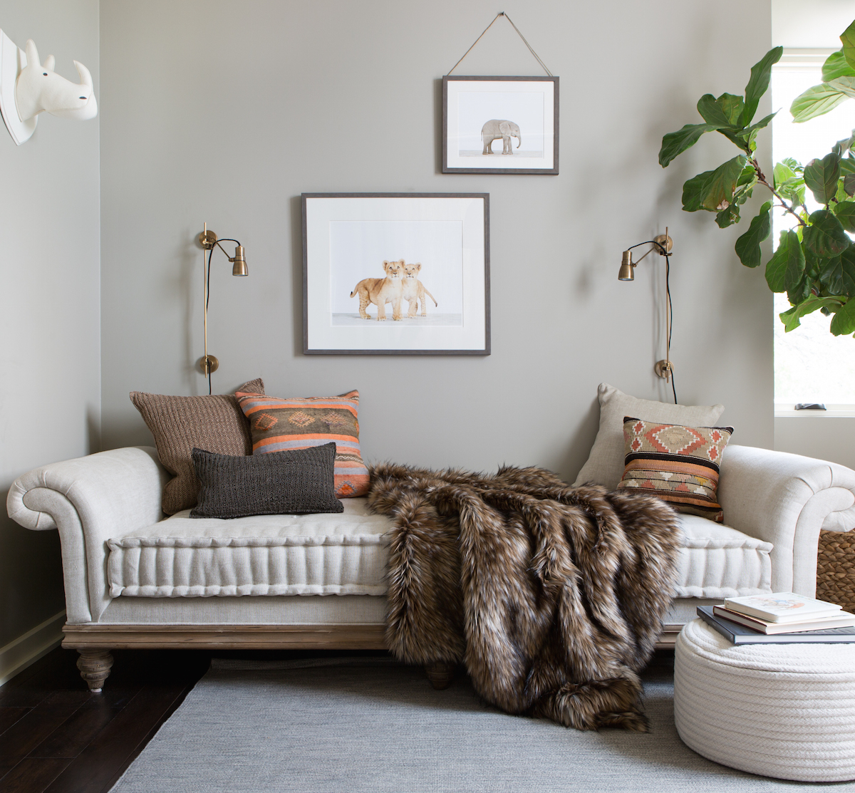 daybed & baby animal prints // modern baby boy's nursery