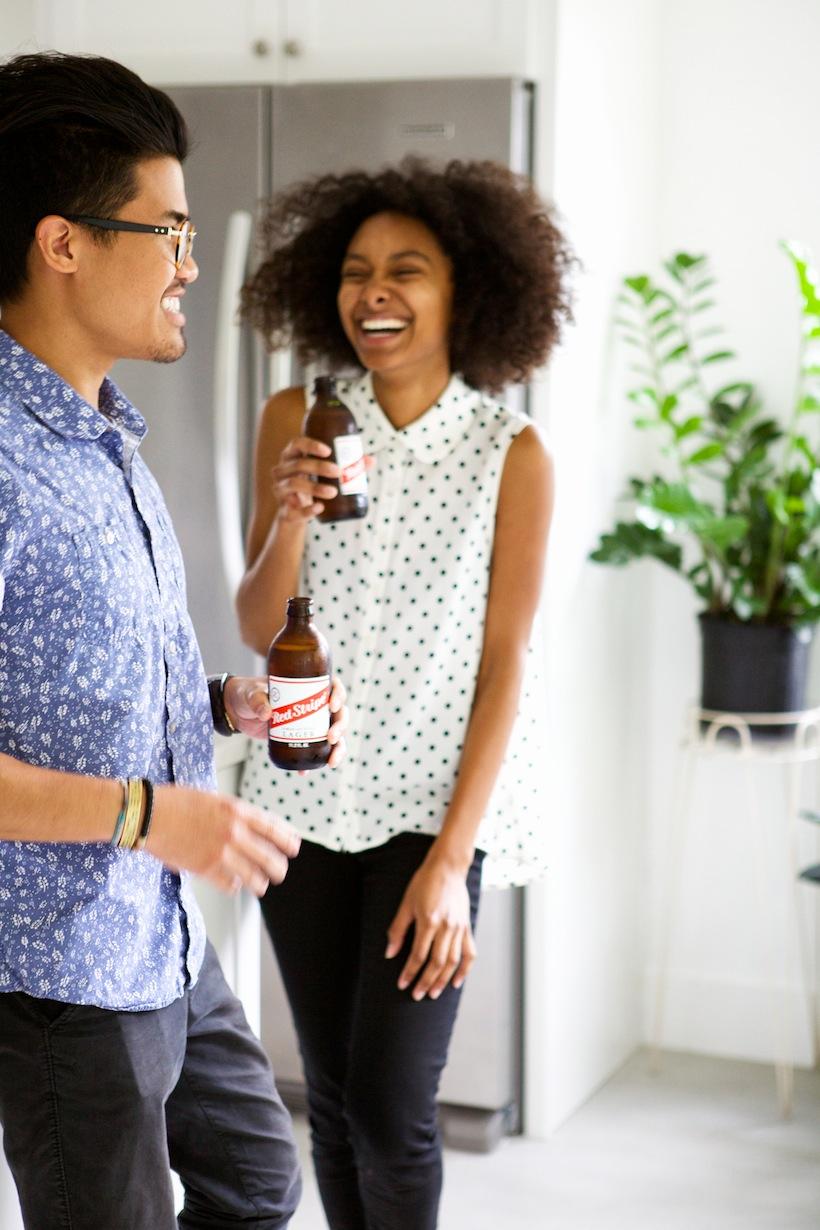 white polka dot party shirt: Entertaining with Nikisha